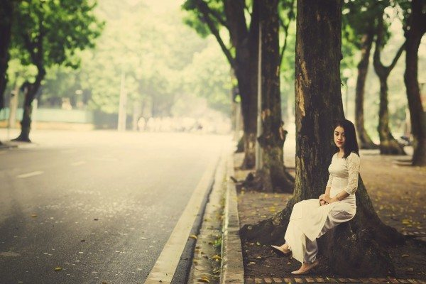 girl in white, waiting